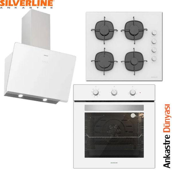 Silverline Beyaz Ankastre Set [SOHO60+CS5335W+BO6503W] (SLV79) resmi