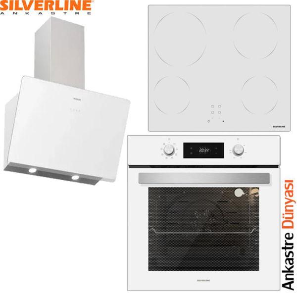 Silverline Beyaz Ankastre Set [SOHO60+VC5355W+BO6504W] (SLV87) resmi