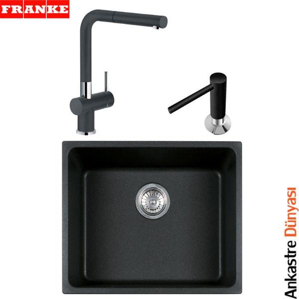 Franke Siyah Evye Batarya Set [KBG110-50+ActivePlusDoccia+SıvıSabunluk](FR60) resmi