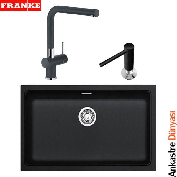 Franke Siyah Evye Batarya Set [KBG110-70+ActivePlusDoccia+SıvıSabunluk](FR61) resmi